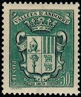 "ANDORRE FRANCAIS STAMP TIMBRE N° 58 ""ARMOIRIES VALLEES 50 C VERT "" NEUF xx TTB"