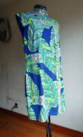 Trina Turk Womens Sleeveless Shift Dress Multicolor Floral Knee Length Size 10