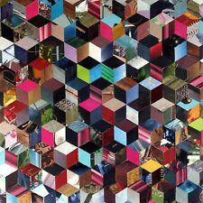 Collage rétro vintage sur chassis entoilé, cadre bois 56x56 cm - Cube 2