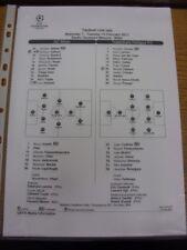 15/02/2011 teamsheet: AC MILAN V Tottenham Hotspur [CHAMPIONS LEAGUE] Tactical L