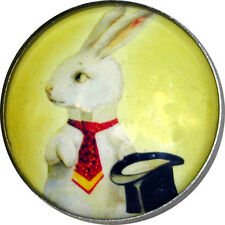 """Crystal Dome Button Bunny Rabbit & Top Hat 1"""" R 19 FREE US SHIPPING"""