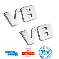 x2 3D Metal V8 BOOT BADGES Chrome Wing Side Emblem 4x4 Jaguar Mitsubishi Pickup