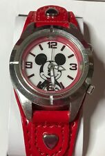 Disney MZ Berger Mickey Mouse Watch Red In Collector Heart Case