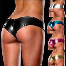 Damen Sexy Gogo Hot Wetlook Pants Lack Panty Leder Tanga String Hotpants Micro