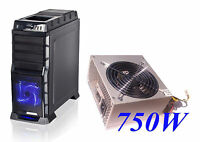NEW USB 3.0 LED Fan HotSwap Gaming PC ATX Mid Tower Case + Active PFC 750W PSU