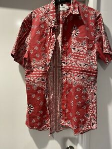 Topman Paisley Short Sleeve Print Shirt L Cotton