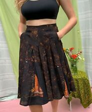 Vintage 1980's Akris Black Photo Printed Pleated Skirt w Pockets