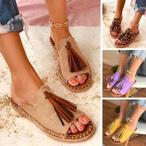 Fashion Tassel Comfort Flat Sandals Slippers Women Sandals Summer Beach Shoes