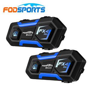 2x Fodsports FX4 PRO Motorcycle Intercom Bluetooth Full Duplex 4-Way Headset FM