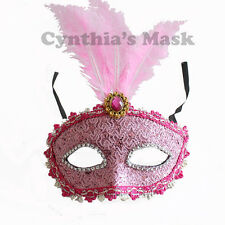 Baby Pink Venetian Masquerade Mask w/Feathers BZ632D for Party & Display