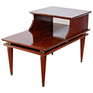 Gorgeous Mid Century Modern Brass Mahogany End Table three Tier top inlays
