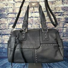 DASEIN Patchwork Accented Black Faux Leather Handbag Shoulder Bag