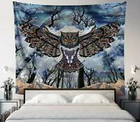 """Owl Tapestry Mountain Nature Art Dark Wall Hanging 51"""" x 58"""" Decorative Tapestry"""