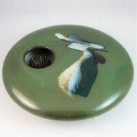 Ikebana Vase Georgetown Pottery Round 5.75 inch Green Wave Pattern Maine USA