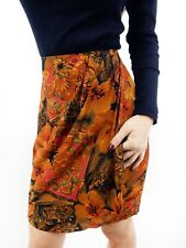 FLORAL WRAP MINI SKIRT Sz 8-10 Vintage Orange Red Retro 90s Office Career Boho