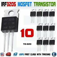 10pcs IRF3205 IR MOSFET N-CHANNEL 55V/110A TO-220 HEXFET Power Transistor IRF