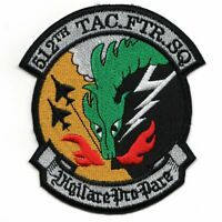 """4.35"""" USAF AIR FORCE 512TH TFS SQUADRON VIETNAM DRAGON EMBROIDERED JACKET PATCH"""