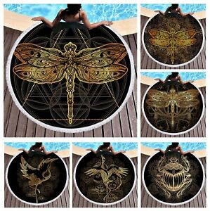 BOHO Ethnic Gold Crane Dragonfly Beetle Large Beach Towel Blanket Spa Sauna Bath