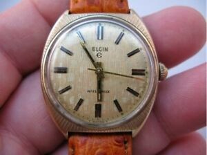 Vintage Elgin 17 jewel manual wind men's watch, Interesting fluted brass case