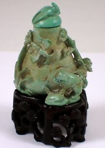 Antique Chinese Carved Turquoise Stone Butterfly Snuff Bottle w Bird Stopper