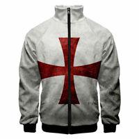 Men's Knights Templar Armor Hoodies Jacket Crusader Cross Medieval Sweathsirt