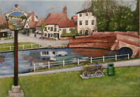 Finchingfield Essex - Canvas Print of Landscape Painting 30x20cm signed