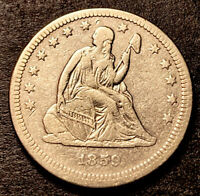 1859 Seated Liberty Silver Quarter 25c Better Date Nice Details Cleaned