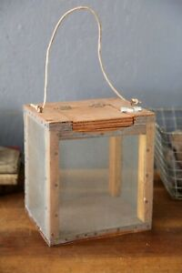 Antique Fishing Bait Cricket Cage Wood and Wire Mesh Fishing Decor Cabin box