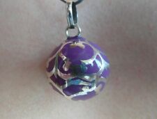 "Balinese Harmony Ball pendant genuine 925silver 18mm ""Purple Filigree"" with cord"