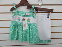 Infant, Toddler, & Girls Mom & Me 2pc Green w/ Cupcakes Smocked Set Size 12m-6X