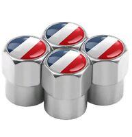 France Flag Tricolour Logo Emblem Silver Dust Caps For CITROEN PEUGEOT RENAULT