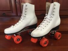 VTG Women's White Leather Roller Derby Roller Skates Sz 8 #965 Roller Star