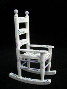 Rocking Chair Painted -  EMWF619   miniature dollhouse furniture wooden rocker