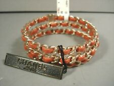 "Chanel 3 Stackable Light Red Leather Gold Woven ""CC"" Chain Bangle Bracelets NEW"
