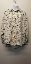 Women's Plus Size 24 Gitano Long Sleeved Button Up Shirt With Floral Pattern