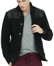 New EXPRESS Men's Mock Neck Cardigan Faux Leather Jacket, nwt, sz S, $160 *LAST*