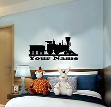 """Train with name for Bedroom Wall kids boys Art Decor Decal HUGE 24"""" x 10"""""""