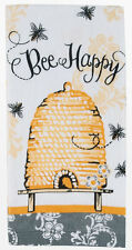 Kay Dee Designs Queen Bee Printed Terry Towel Bee Happy Hive White Yellow Gray