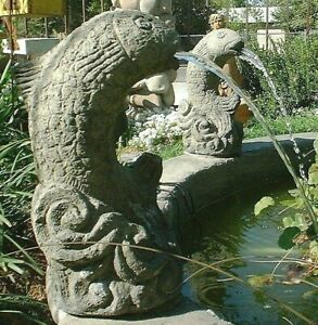 VINTAGE FISH SPITTER Solid Cement Concrete Stone Outdoor Garden Pond Fountain