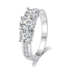 Three-Stone Engagement Silver Plated Ring 3 Stone Brilliant Cut Wedding Statemen