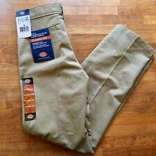 Nwt Dickies Boys Reinforced Knee Classic Fit Khaki Pants Size 14 Adj Waist
