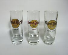 SET OF 3 HARD ROCK SHOT GLASSES - DENVER - PARIS - HONG KONG