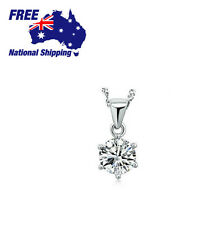 925 Sterling Sliver 6 Prong 6mm Lab Diamond Solitary Pendant Chain
