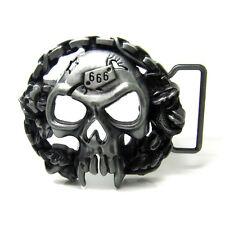 Western great death human skull belt buckles Dark Heavy Metal Finished Retro