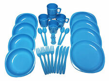 26 Piece Plastic Picnic/Camping/BBQ/Party Dinner Plate Bowl Mug Cutlery Set BLUE