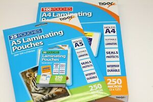 A5, A4 OR BUSINESS CARD TIGER '160 OR 250 MICRON' CLEAR GLOSS LAMINATING POUCHES