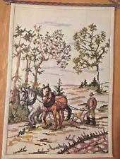 "Rare Vintage OOE Danish Cross Stitch Kit ""Man With Plow"" (Mand Ved Plov) 20370"