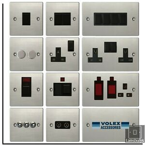 Volex Flat Brushed Stainless Steel Light Switches and Electrical Sockets Black