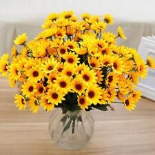 JW_ 15 Heads Fake Sunflower Artificial Silk Flower Bouquet Home Wedding Decor