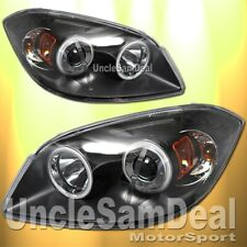 CHEVY COBALT PONTIAC G5 DUAL HALO RIMS ANGEL EYE PROJECTOR HEADLIGHTS BLACK PAIR